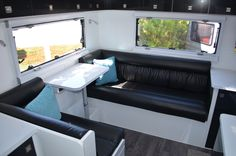 Cafe dinette with large rear lounge. External storage under rear lounge. Caravans For Sale, Rv Parts And Accessories, Lounge, Storage, Window, Wallpapers, Airport Lounge, Drawing Room, Airstream Campers For Sale
