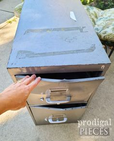 Damaged File Drawers on Upcycled Filing Cabinet | prodigalpieces.com Laundry Cart, Laundry Bin, Crate Side Table, Drawer Labels, Cabinet Makeover, Diy Recycle, Wood Shelves, Vintage Industrial, Filing Cabinet