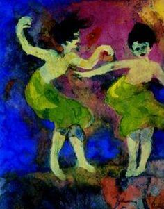 Tanzende Frauen (mit grünen Röcken),  (Mujeres que bailan con faldas verdes)Emil Nolde (1867-1956)