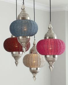 designed-for-life:      Dress up any room in global style with these handcrafted of iron and glass Indian-inspired hanging pendants in bright, versatile colors. Hang individually or group them together for greater visual impact.
