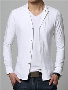 Ericdress Solid Color Lapel Single-Breasted Unique Men's Shirt