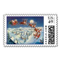SANTA, SLEIGH & REINDEER by SHARON SHARPE Postage Stamp