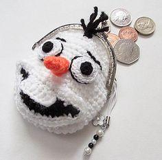 Ravelry: Olaf Frozen Snowman Coin Purse pattern by Wistfully Woolen Crochet Wallet, Crochet Coin Purse, Crochet Purse Patterns, Loom Knitting Patterns, Crochet Purses, Knitting Tutorials, Crochet Bags, Free Knitting, Stitch Patterns