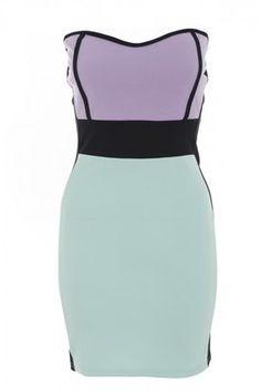 ShopStyle: Lilac/Aqua/Black Ponte Bodycon Dress