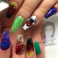 Day 299: Spiders & Sunsets Nail Art - - NAILS Magazine