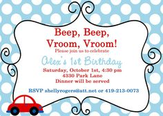 Little Red Car Themed Birthday Invite - You Choose The Colors