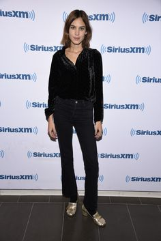Alexa Chung (in Gucci loafers) - At the presentation of Basic Rights at SiriusXM's studios in New York. (1 February 2016)