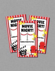 Printable Redbox gift card tags teacher appreciation for a movie night basket