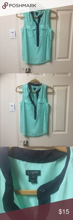 Mint and navy J. Crew tank size 2 Super cute J.Crew tank in a bright mint green with navy accents. Size 2. Like new condition. J. Crew Tops Tank Tops