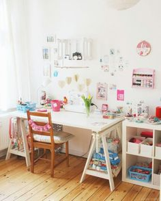 workspace / Craft corner and sewing table via luloveshandmade. Sewing Spaces, Sewing Rooms, Workspace Inspiration, Room Inspiration, Craft Room Storage, Craft Rooms, Home Office Space, Space Crafts, Craft Space