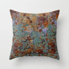 Earthy Stone With Mossy Rock Lichen Texture Throw Pillow by PTK Designs - $20.00 #giftsforhim #homedecor