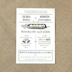 Two peas vintage wedding invitation £2.50