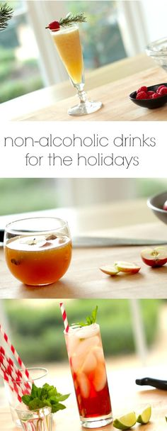 3 Non-Alcoholic Drinks for Holiday Entertaining. Quick, easy and festive. Includes recipe video tutorial. Christmas Drinks Alcohol, Party Drinks Alcohol, Drinks Alcohol Recipes, Holiday Drinks, Holiday Dinner, Drink Recipes, Winter Drinks, Summer Drinks, Fun Drinks