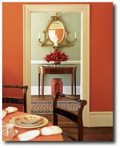 Burnt orange Dining Room - Burnt orange Dining Room, Home Design Offers fort and Style Orange Dining Room, Dining Room Colors, Dining Room Design, Kitchen Colors, Dining Rooms, Mint Kitchen, Bedroom Orange, Orange Walls, Orange Rooms