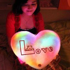 Heart Shape LED Light Velvet Gleamy Throw Pillow #toy #pillow
