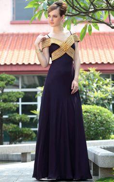 A-line long Purple off shoulder bridesmaid dresses UK - £149.00 :