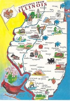 Illinois postcard 1960s? Love how the Amish are right by my hometown!