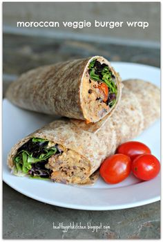 Healthy Girl's Kitchen: Moroccan Veggie Burger Wraps