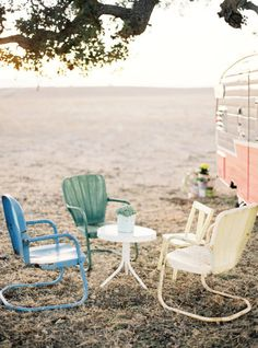 vintage trailer with chairs
