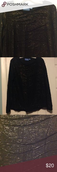 Vera Wang long sleeve top. PERFECT for holidays! Black top with gold thread. Crinkled look on this long sleeve top. Great for holiday events. Vera Wang Tops Tees - Long Sleeve