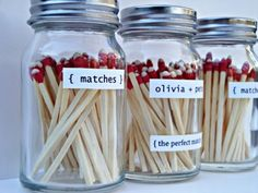DIY strike anywhere match jar favors. Wedding Favour Jars, Diy Wedding Favors, Wedding Ideas, Wedding Stuff, Wedding Inspiration, Party Favours, Business Inspiration, Party Gifts, Wedding Details