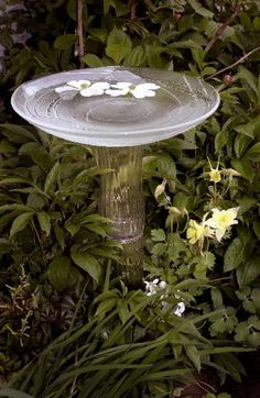 Make a birdbath from glass vases