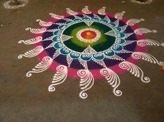 Geometric tattoo color colour Ideas for 2020 Easy Rangoli Designs Diwali, Rangoli Designs Latest, Rangoli Designs Flower, Free Hand Rangoli Design, Rangoli Border Designs, Rangoli Patterns, Rangoli Ideas, Rangoli Designs With Dots, Rangoli Designs Images