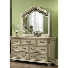Liberty Antique Ivory 7-drawer Dresser and Mirror Set