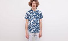 Pull&Bear - homme - tropical beach - chemise bicolore imprimé floral - blanc - 05200509-V2015