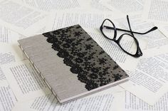 Large Coptic Bound Journal with Natural Linen and Black Vintage Lace