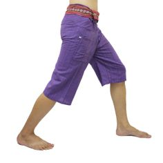 Light Purple Thai Fisherman Pants Short 3/4 with Thai hand woven fabric on waist side, Wide Leg pants, Wrap pants, Unisex pants  $22.00 Free shipping