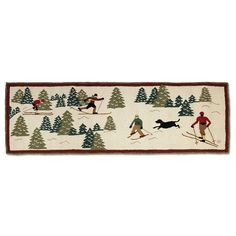 Ski Rack Hooked Accent Rug - Bring folk-art charm to your ski lodge with the wool Ski Rack Hooked Accent Rug with cotton canvas backing. Ski Rack, Ski Decor, Black Forest Decor, Bear Rug, Woody Wagon, Landscape Quilts, Cross Country Skiing, Accent Rugs, Rug Hooking