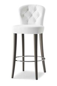 Luma K 3.0K from Sandler Seating  Bar stool, beech frame. Seat/back upholstered with button detail. Indoor only.