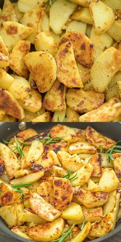 Easy Skillet Potatoes These Skillet Potatoes make a perfect side dish. Made with rosemary and lemon juice, they are aromatic and full of flavor! Make this vegetarian / vegan dinner tonight! Don't forget to share your photos! I always check. Side Dish Recipes, Dinner Recipes, Skillet Potatoes, Fried Potatoes, Stove Top Potatoes, Mashed Potatoes, Cooking Recipes, Healthy Recipes, Skillet Recipes