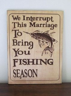 Rustic Wood Carving Fishing Season Sign - Great For The Man Cave
