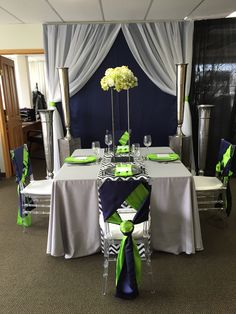 Navy Blue & Lime Green. #yyceventrentals #yycweddings #wedding decor #eventdecor www.greateventsrentals.com