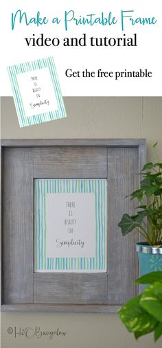 Easy to follow tutorial and video on how to build an easy DIY rustic picture frame to hang on the wall. Make a DIY frame to hold photos, art and printables. Change the finish for a beachy or modern farmhouse frame style. Make several sized wood frames and stack them in a vignette for a great look.