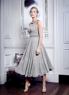 Mother of the Bride Dresses - $142.47 - A-Line/Princess Halter Tea-Length 30D Chiffon Mother of the Bride Dress With Beading (0085101256)