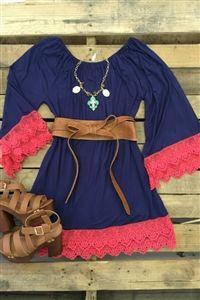 Boutique, Lace, Dress, Stay A Little Longer Dress - Navy #sfcrep #southernfriedchics
