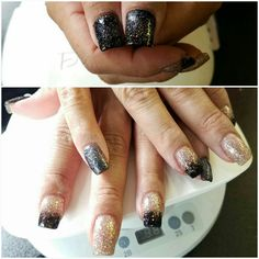 #blackglitter #goldglitter #squarenails #acrylic