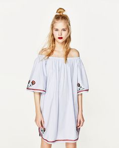 Image 5 of OFF-THE-SHOULDER EMBROIDERED DRESS from Zara