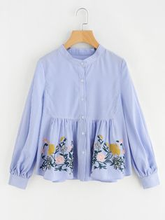 SheIn offers Flower Embroidered Smock Blouse & more to fit your fashionable needs. Modest Fashion, Hijab Fashion, Girl Fashion, Fashion Dresses, Mode Abaya, Mode Hijab, Stylish Dresses For Girls, Pakistani Dresses Casual, Smocks
