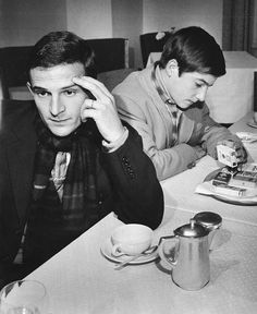 Director François Truffaut and his actor alter-ego in multiple (often) semi-autobiographical films, Jean-Pierre Léaud, circa Jacques Demy, Jean Pierre Leaud, Agnes Varda, French Icons, Francois Truffaut, French New Wave, French Movies, Jean Luc Godard, Catherine Deneuve