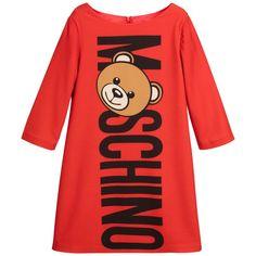 Moschino Red Crêpe Logo Dress with Teddy