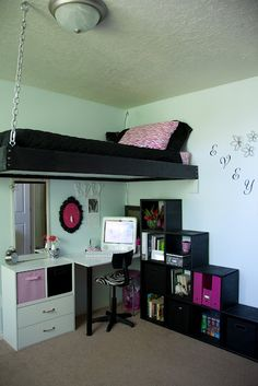I love the hanging bed and the cubby-staircase