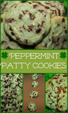 Peppermint+Patty+Cookies+-+a+mint+chocolate+chip+treat+for+St+Patrick's+Day