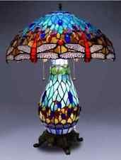Tiffany Style Stained Glass Table & Desk Lamp Dragonfly Accent Light - NEW