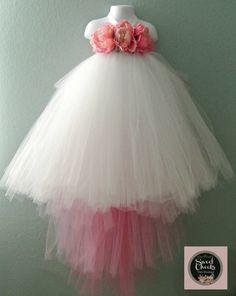 White flower girl dress, ombre tutu dress, pink and white tutu, pink and white flower girl, peony fl