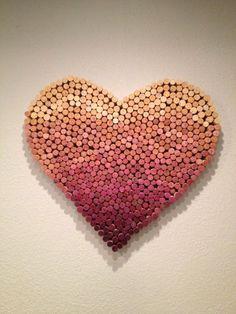 A little DIY wine cork project. Wine Craft, Wine Cork Crafts, Wine Bottle Crafts, Wine Bottles, Crafts To Make, Fun Crafts, Arts And Crafts, Diy Cork, Cork Heart