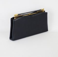 Vintage Purse Navy Blue Leather Clutch / Handbag by Ande  brought to you by Alley Cats Vintage